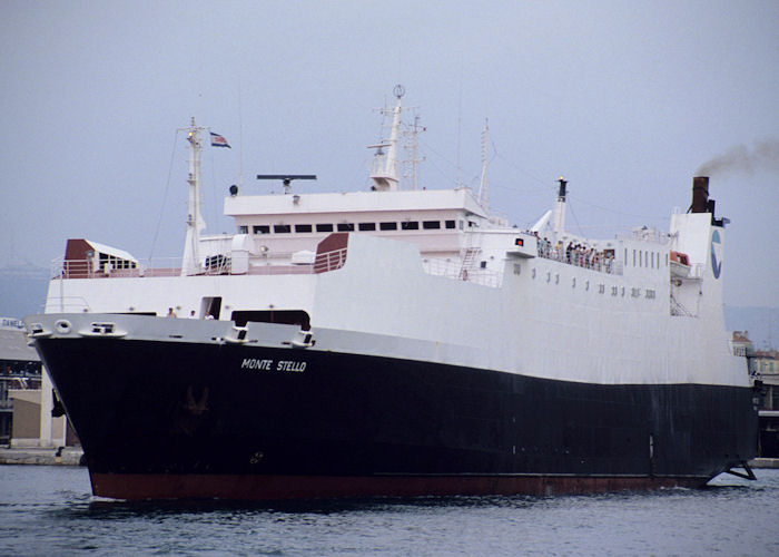 Monte Stello pictured departing Marseille on 5th July 1990