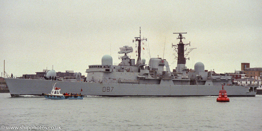 Newcastle pictured entering Portsmouth Harbour on 4th March 1989