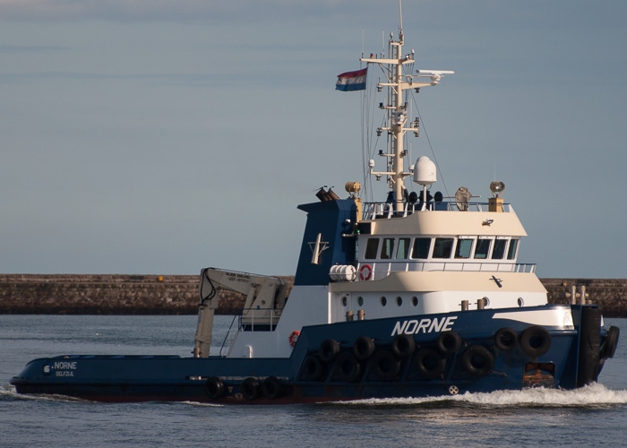 Norne pictured arriving on the River Tyne on 23rd August 2014