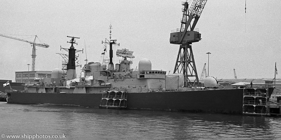 Nottingham pictured in Portsmouth Naval Base on 16th April 1989