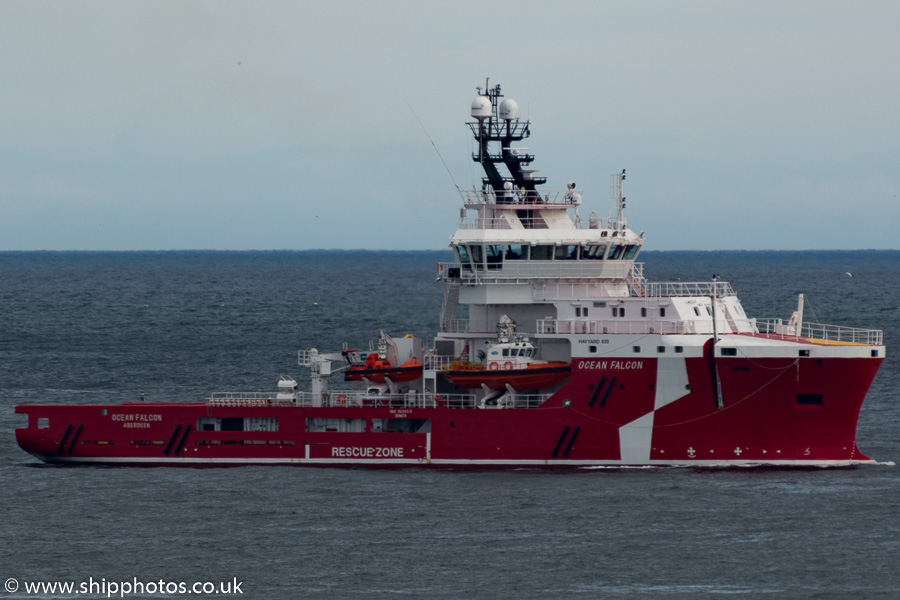 Ocean Falcon pictured at anchor in Aberdeen Bay on 17th May 2015