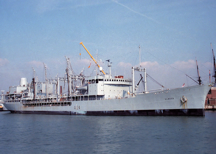 Olmeda pictured in Portsmouth Naval Base on 2nd October 1988