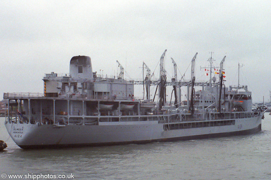 Olmeda pictured departing Portsmouth Harbour on 29th July 1991