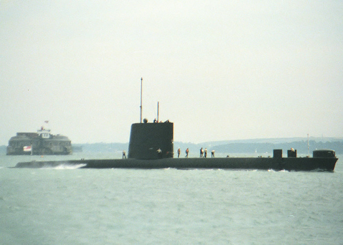 Opportune pictured approaching Portsmouth Harbour on 17th July 1988