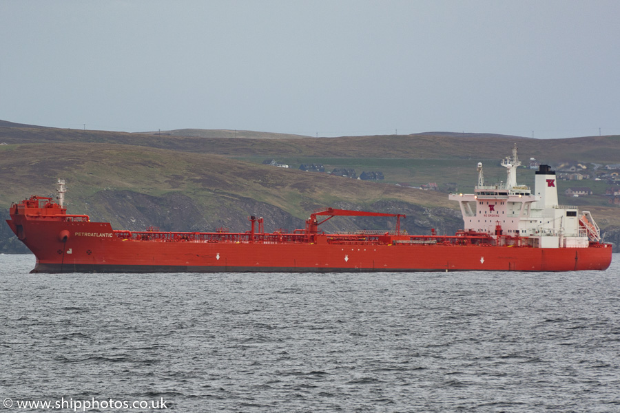 Petroatlantic pictured at anchor near Lerwick on 18th May 2015