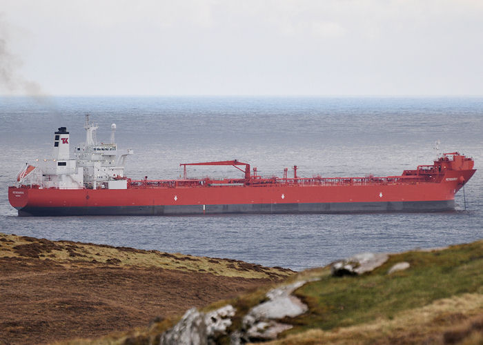 Petronordic pictured at anchor near Lerwick on 11th May 2013