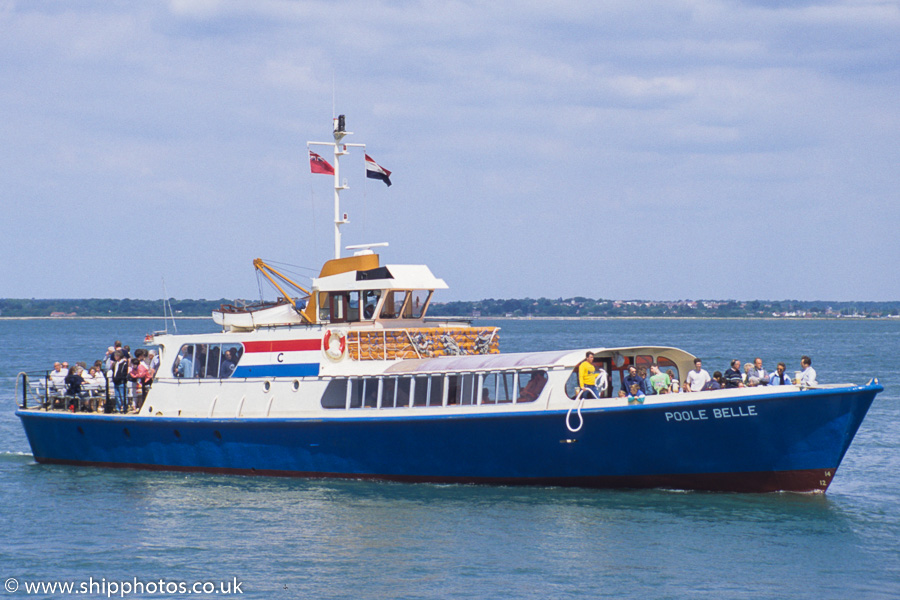 Poole Belle pictured approaching Yarmouth, IOW, on 31st May 1989