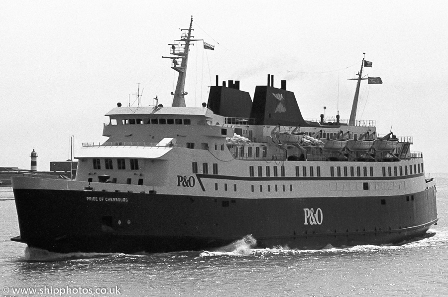 Pride of Cherbourg pictured approaching Portsmouth Harbour on 27th May 1989