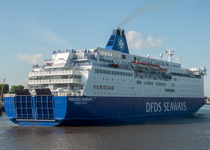 Princess Seaways pictured passing North Shields on 26th May 2014