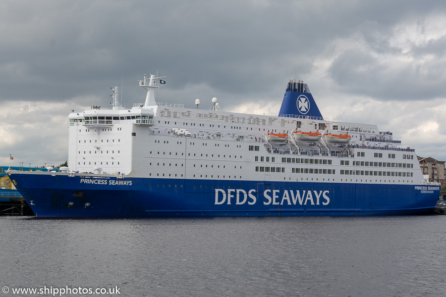 Princess Seaways pictured passing North Shields on 27th August 2017