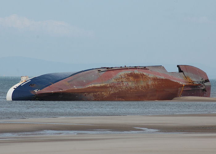 Riverdance pictured aground off Cleveleys on 25th May 2008 after work to dismantle the vessel had commenced