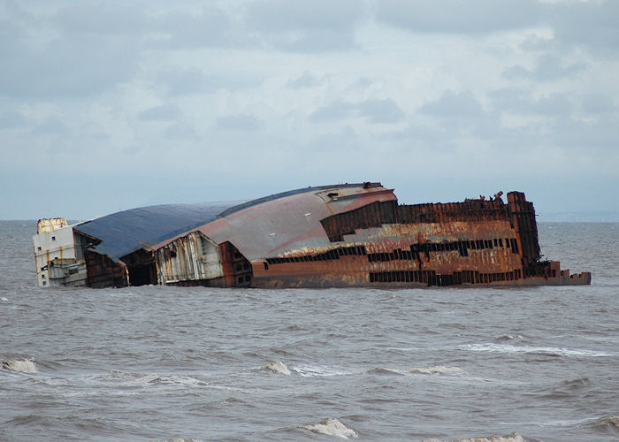 Riverdance pictured aground off Cleveleys on 3rd August 2008 after further work to dismantle the vessel