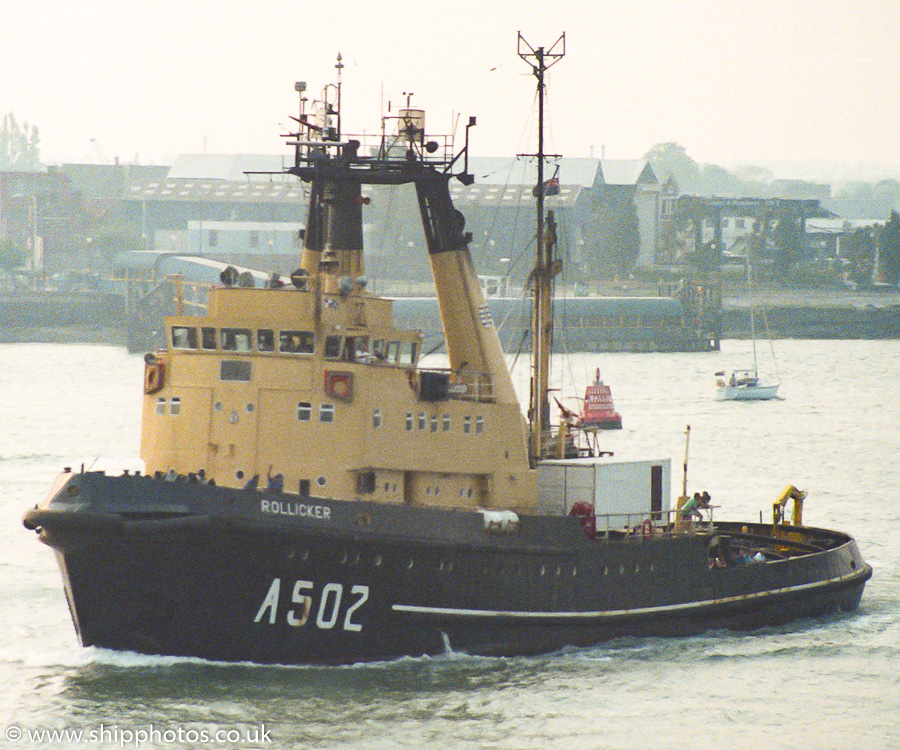Rollicker pictured departing Portsmouth Harbour on 21st May 1989