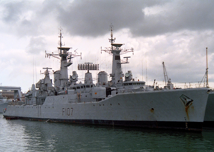 Rothesay pictured in Portsmouth Naval Base on 1st April 1988