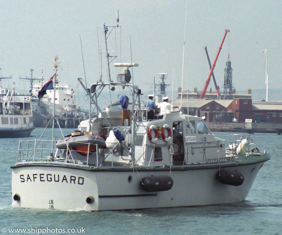 Safeguard pictured arriving in Portsmouth Harbour on 11th June 1989