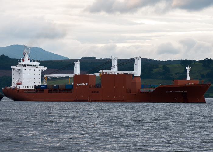 Saimaagracht pictured arriving at Greenock Ocean Terminal on 6th August 2014