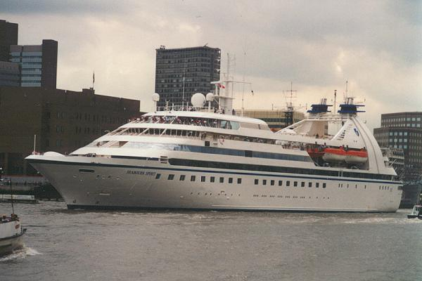 Seabourn Spirit pictured departing London on 19th July 1995