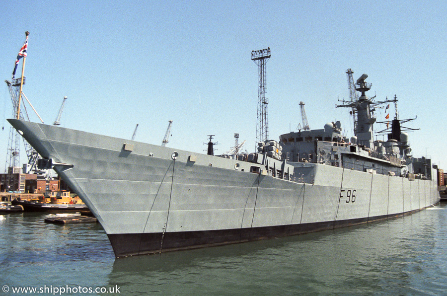 Sheffield pictured in Portsmouth Naval Base on 7th May 1989