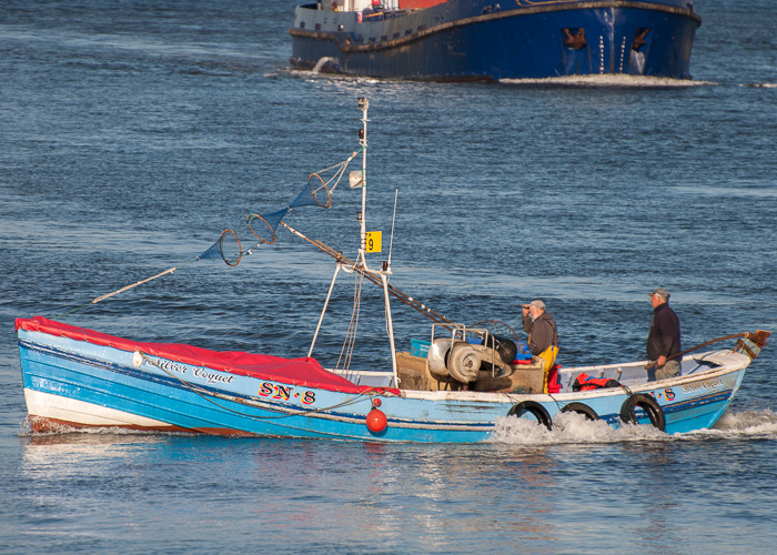 Silver Coquet pictured arriving at the Fish Quay, North Shields on 22nd August 2014