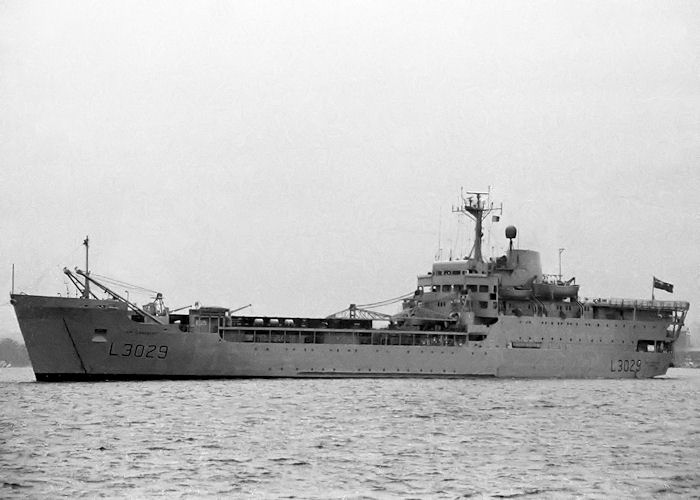 Sir Lancelot pictured departing Marchwood Military Port on 12th March 1989
