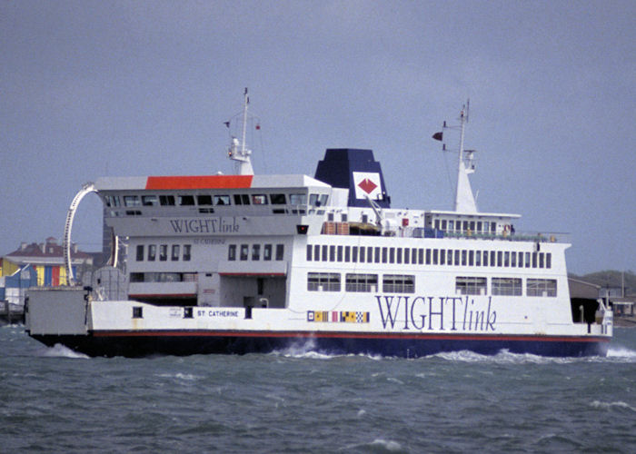 St. Catherine pictured approaching Portsmouth Harbour on 9th May 1992