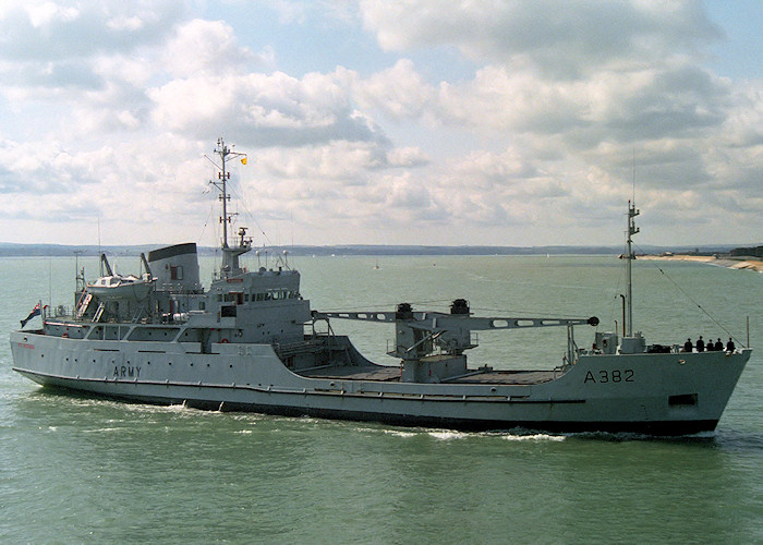 St. George pictured entering Portsmouth Harbour on 1st April 1988