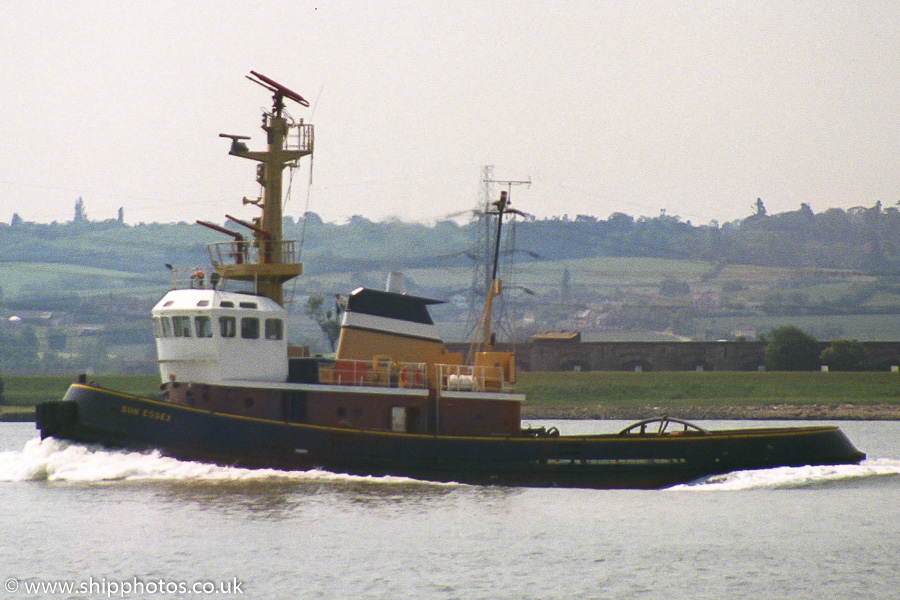 Sun Essex pictured on the River Thames near Gravesend on 17th June 1989