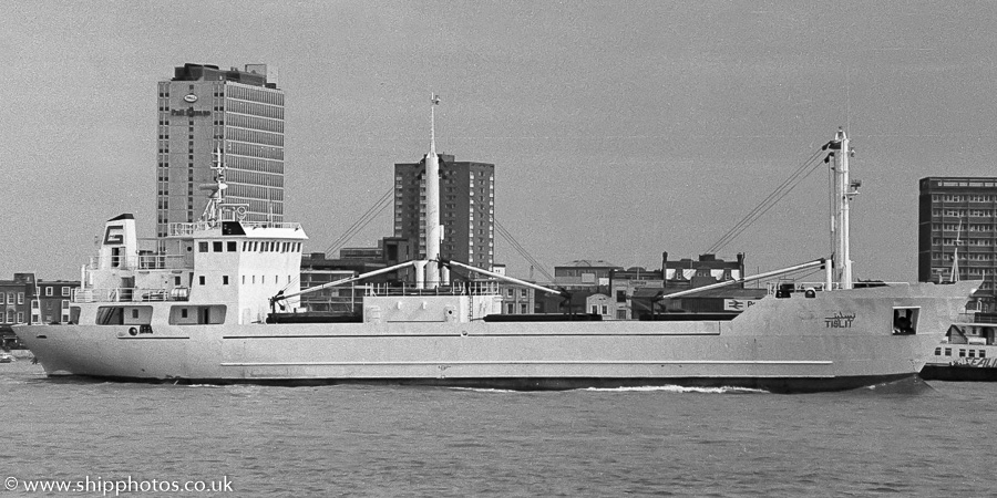 Tislit pictured departing Portsmouth Harbour on 25th March 1989