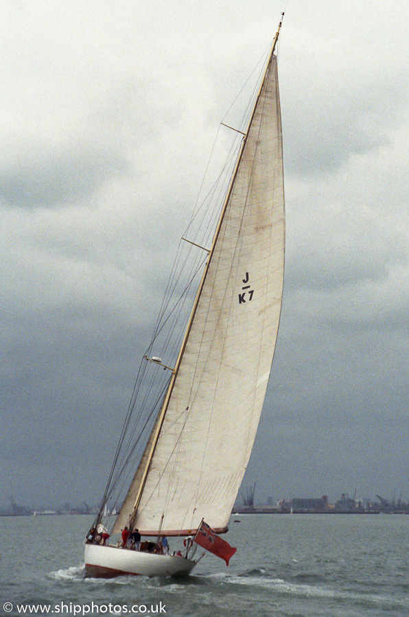 Velsheda pictured on Southampton Water on 30th April 1989