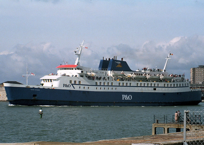 Viking Voyager pictured departing Portsmouth Harbour on 1st April 1988