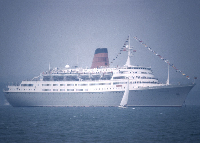 Vistafjord pictured at anchor in the Solent on 27th July 1990