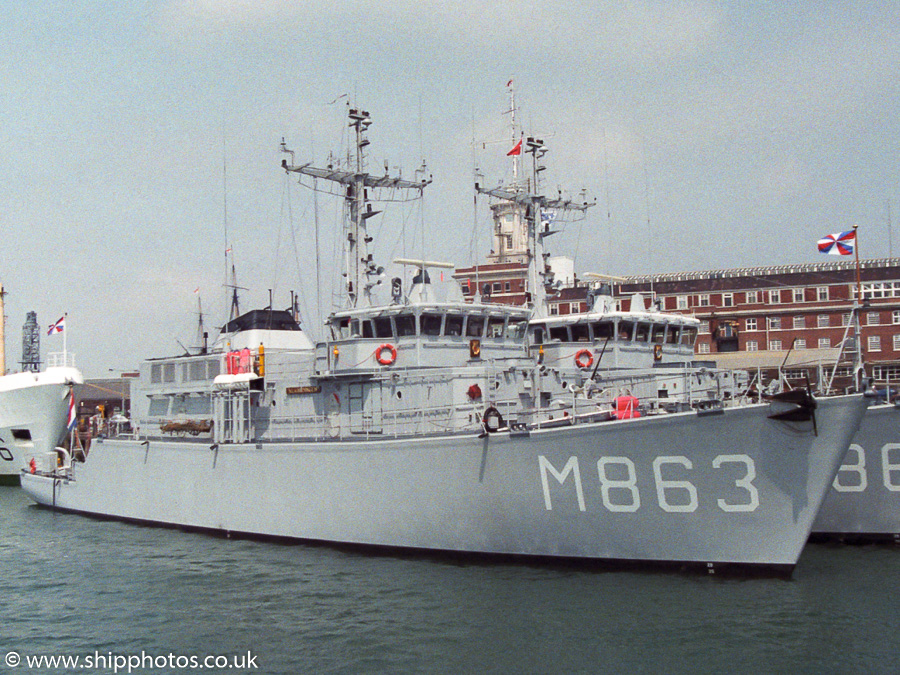 Vlaardingen pictured in Portsmouth Naval Base on 11th June 1989