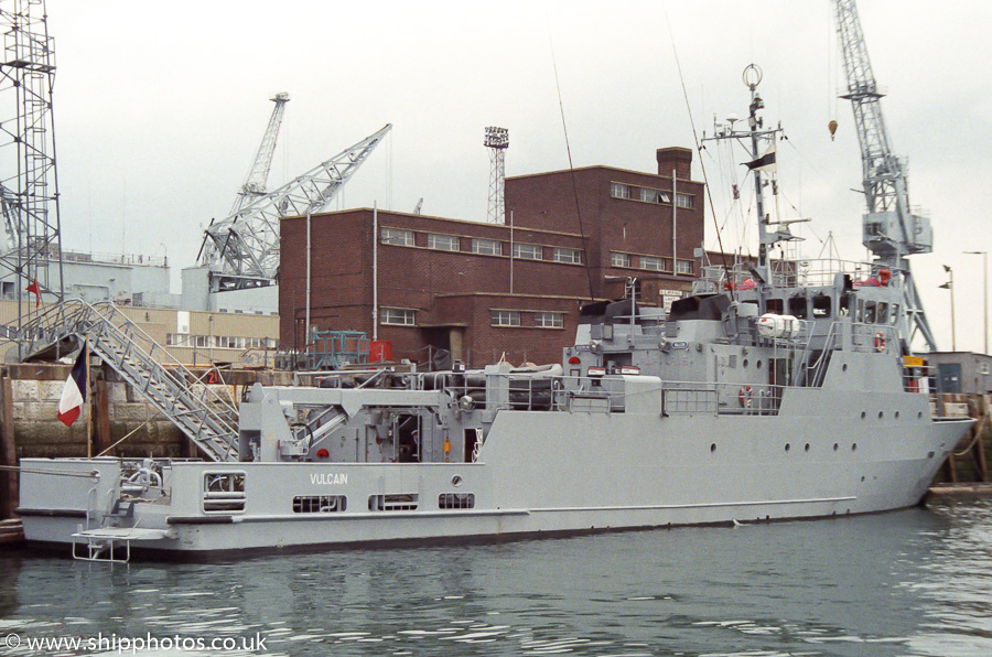 Vulcain pictured in Portsmouth Naval Base on 30th April 1989