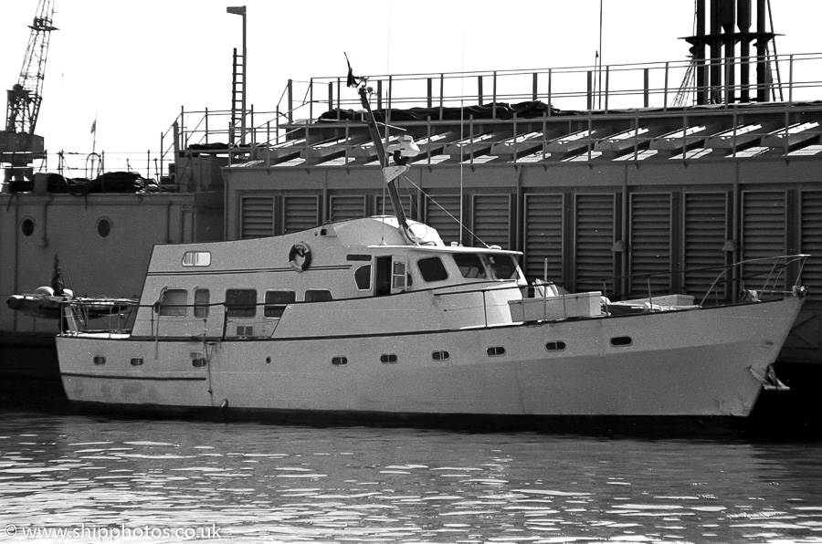 Watonia III pictured in Portsmouth Naval Base on 8th April 1989