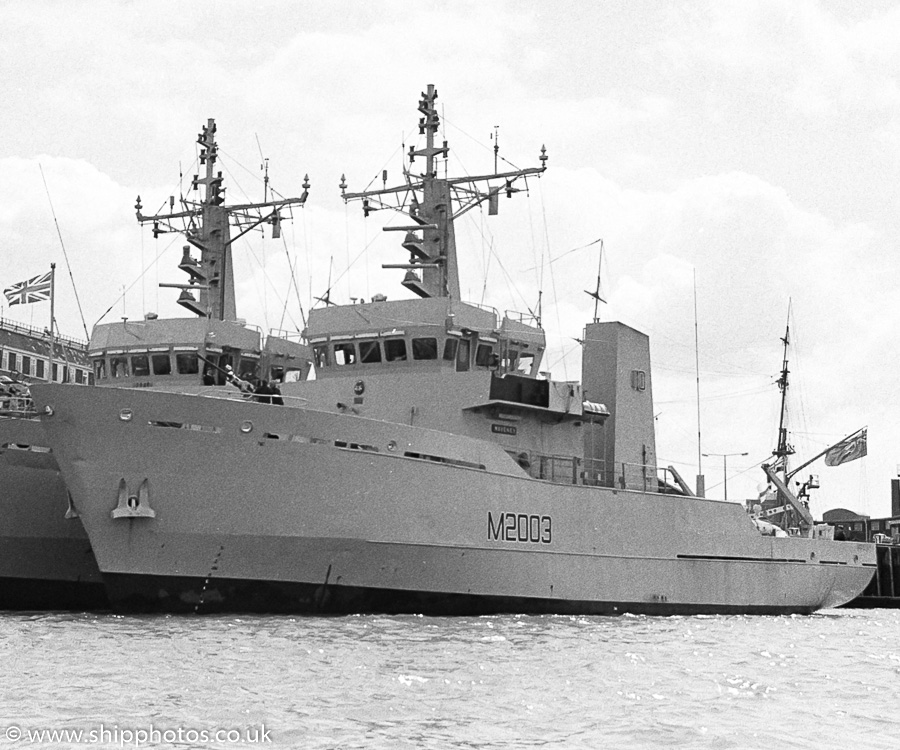 Waveney pictured in Portsmouth Naval Base on 13th May 1989