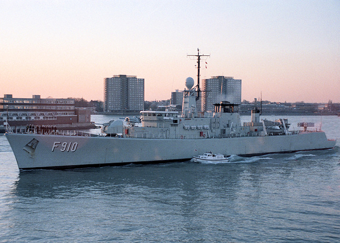 Wielingen pictured departing Portsmouth Harbour on 30th October 1988