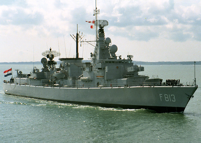 Witte de With pictured entering Portsmouth Harbour on 1st April 1988