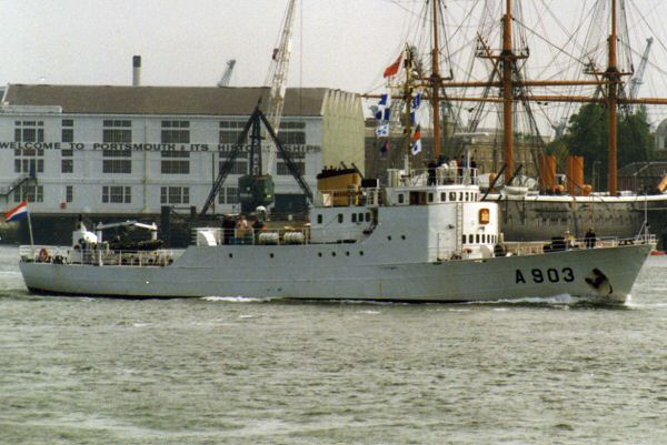 Zeefakkel pictured departing Portsmouth Harbour on 19th May 1994